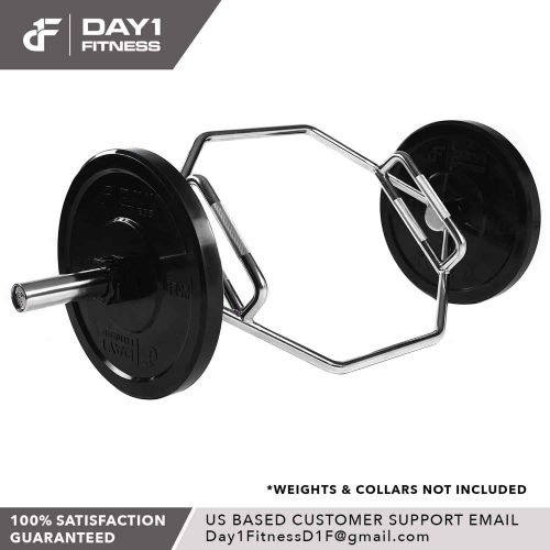 Day1Fitness Silver Hexagon Deadlift Bar For Powerlifting